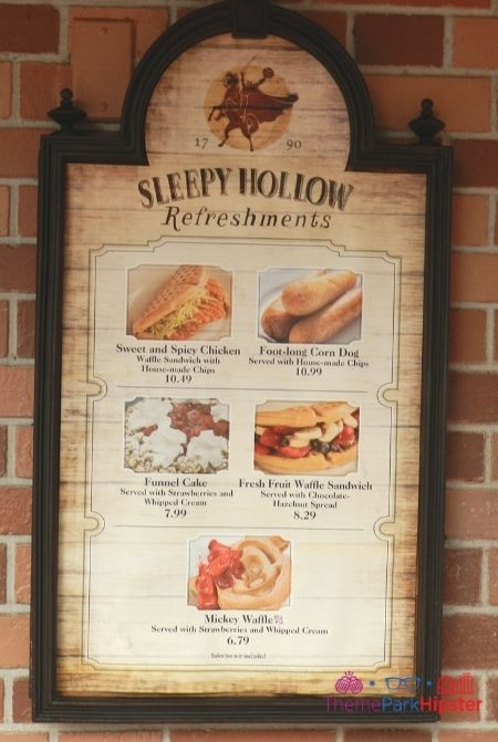 Magic Kingdom Sleepy Hollow Refreshments Waffles Menu