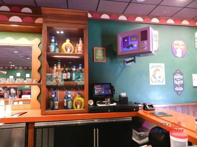 Moe's Tavern Bar Area with Liquor Selection