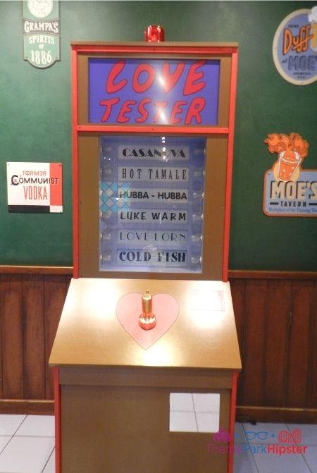 Moes Tavern at Universal Studios Love Tester Machine