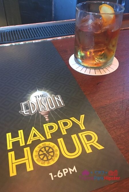 The Edison at Disney Springs Happy Hour Hours with Stiff Bourbon Drink