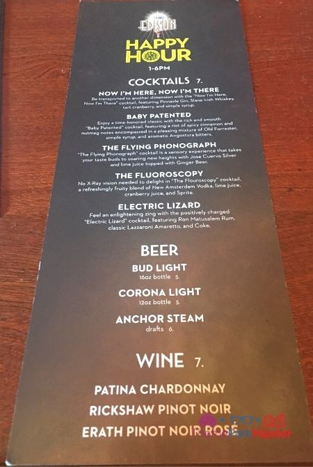 The Edison at Disney Springs Happy Hour Menu