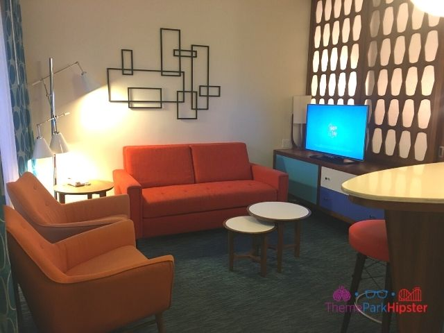 Universal Orlando Cabana Bay Beach Resort Family Living Room with Orange Couches
