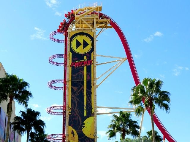 Universal Studios Hollywood Rip Ride Rockit Roller Coaster on the lift