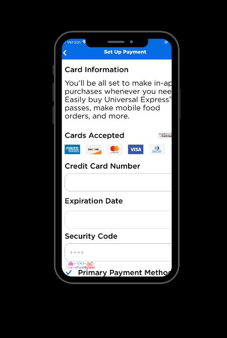 Universal Studios Mobile Order App 3 Payment Setup