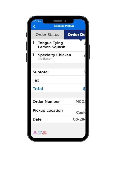 Universal Studios Mobile Order App 5 Order Details