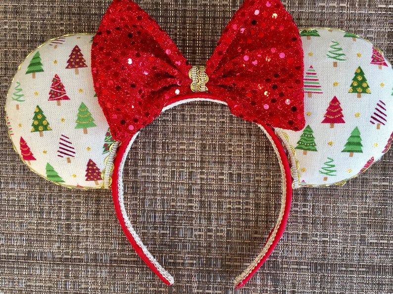 Etsy Disney Christmas Ears with Red and Green Christmas Trees