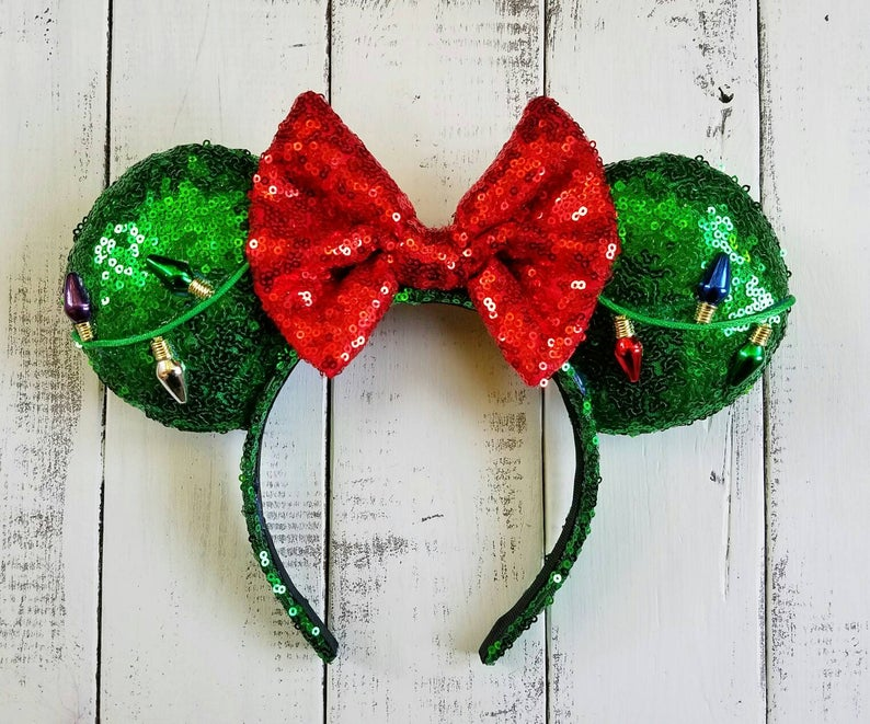 Green and Red Sequence Disney Christmas Ears with Christmas Lights on Etsy