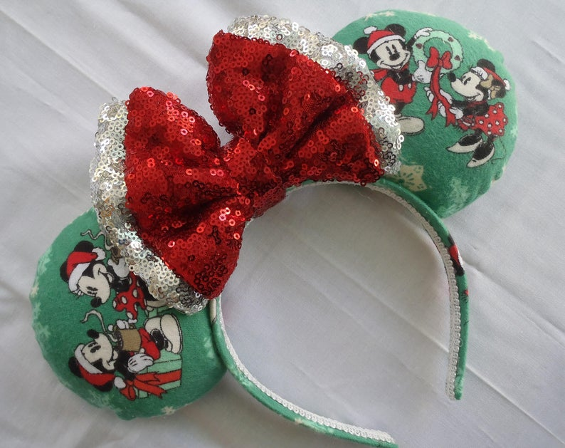 Minnie and Mickey Green Holiday Ears on Etsy