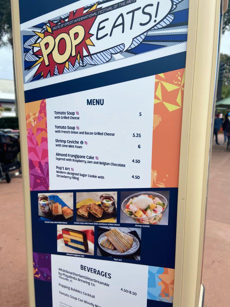 Pop Eats Menu at Epcot Festival of the Arts
