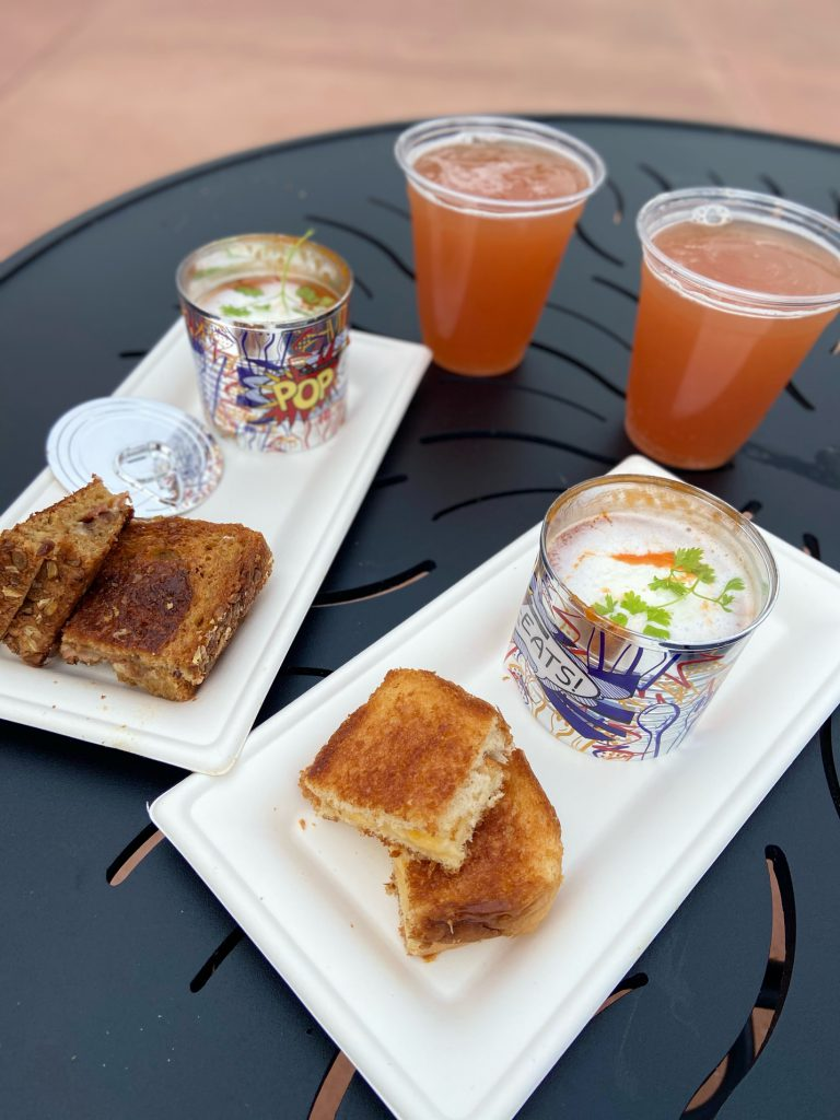 Tomato Soup and Grilled Cheese with Glitter Beer at Epcot Festival of the Arts