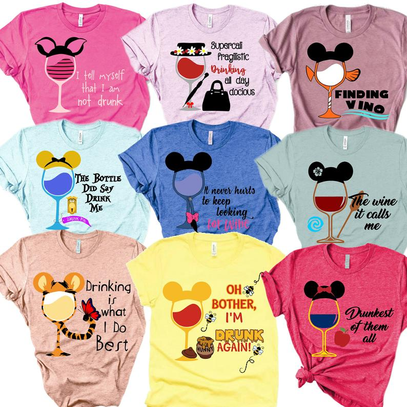 An Array of Epcot Drinking Around the World Shirts on Etsy
