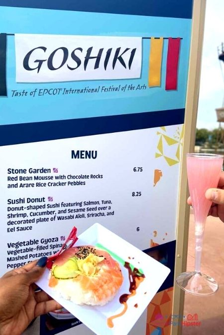 Pink Snow Drink and Sushi Donut in Japan at Epcot Festival of the Arts