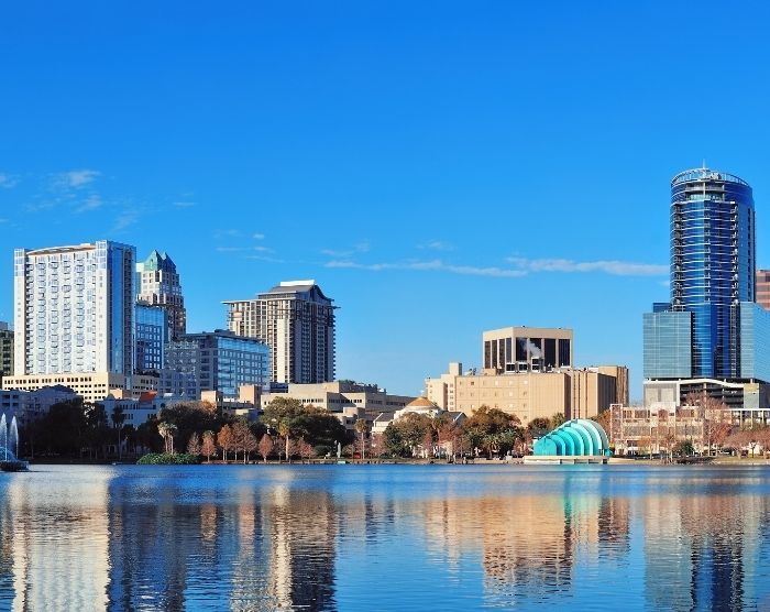 Road Trip to Disney World in Orlando with Beautiful downtown skyline