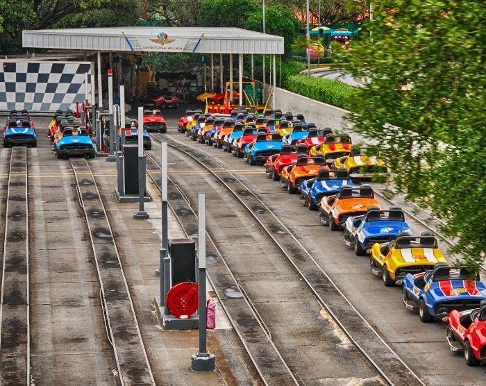Road Trip to Disney World in Orlando with magic kingdom tomorrowland speedway on beautiful florida day