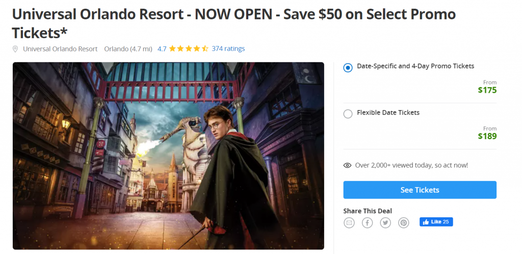Universal Studios Groupon with Harry Potter Image
