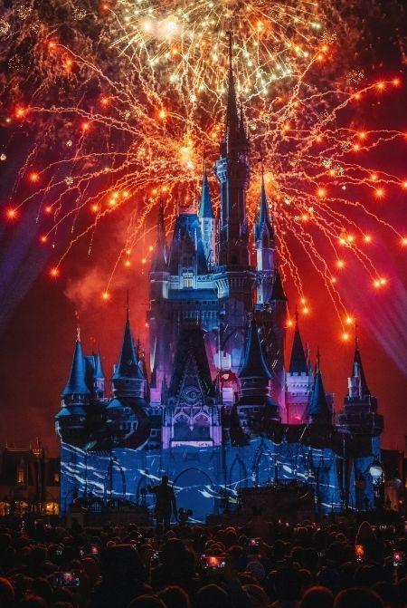 Walt Disney World Fireworks Show in Magic Kingdom Castle