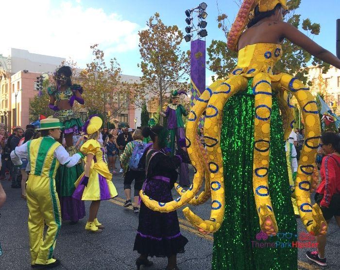 Universal Studios Mardi Gras party in the street