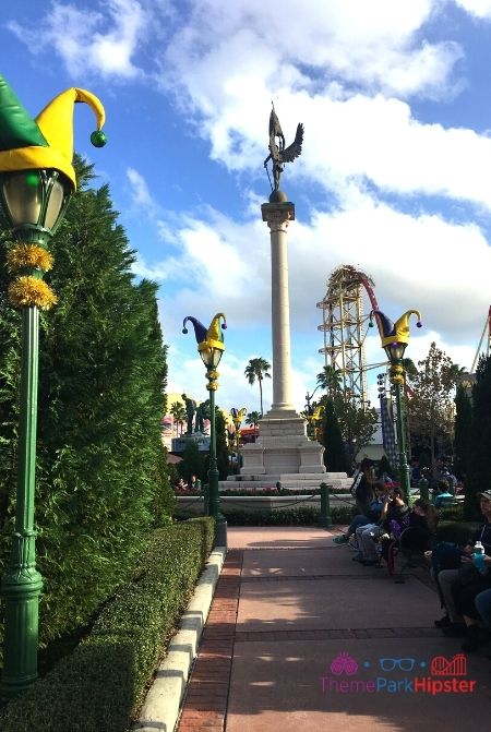 Universal Studios Mardi Gras with Hollywood Rip Ride Rock it in the background