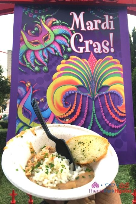 Universal Studios Mardi Gras New Orleans Food with Red Beans and Rice