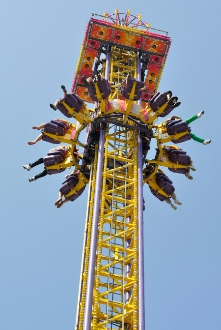 Amusement Park Drop Yellow Tower
