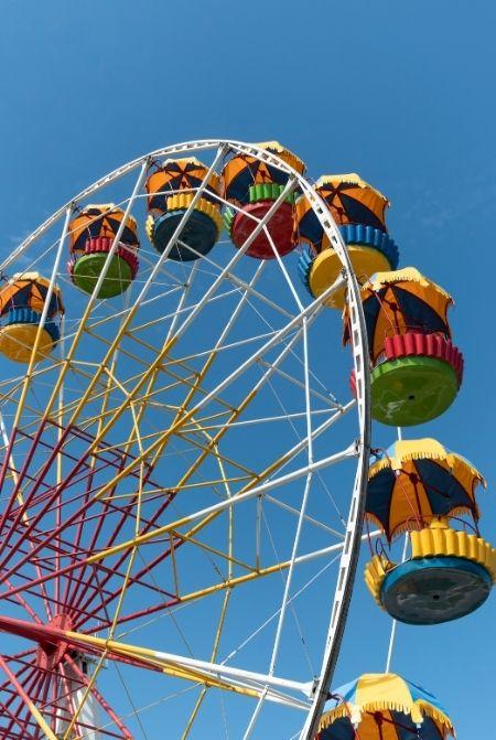 Amusement Park rainbow color Ferris Wheel