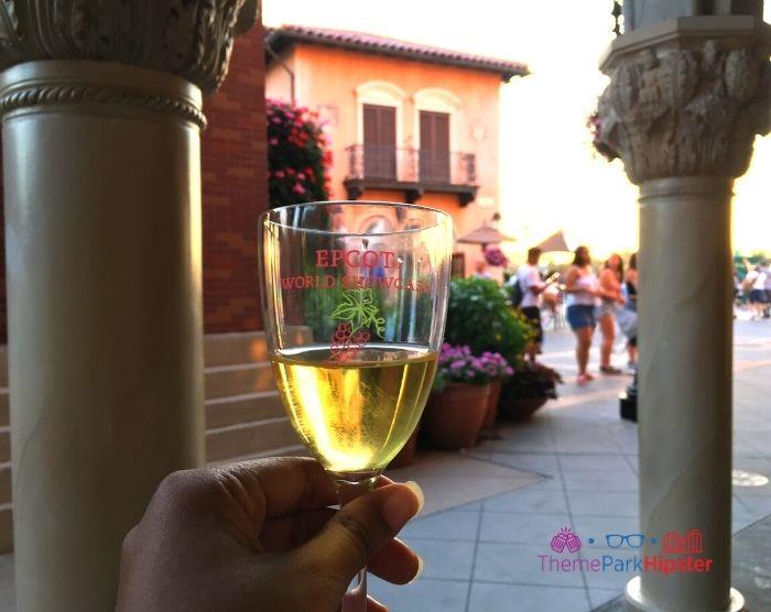 Italy Venice Rialto at Epcot with white wine