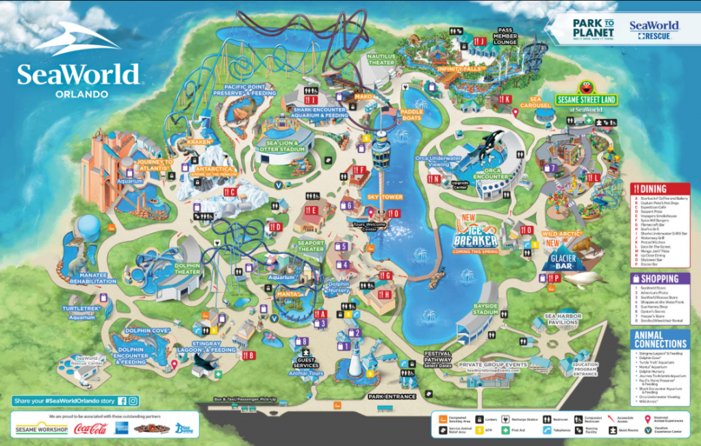 SeaWorld Orlando 2021 Map