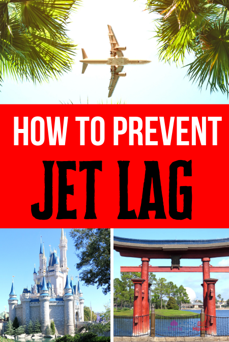 Symptoms of Jet Lag with Airplane flying over Palm Trees overlooking Disney Cinderella Castle