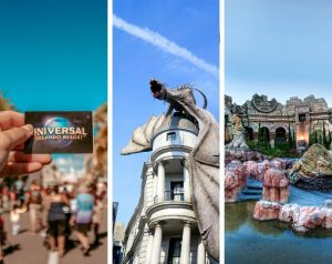 Universal Studios Groupon Deals and Discounts with person holding up ticket next to dragon in diagon alley