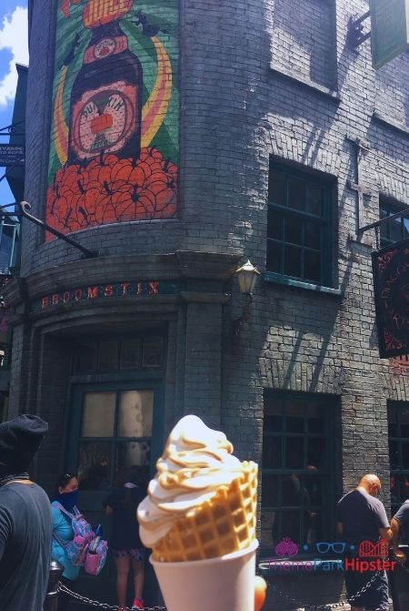 Butterbeer Ice cream in Diagon Alley in Wizarding World of Harry Potter food.