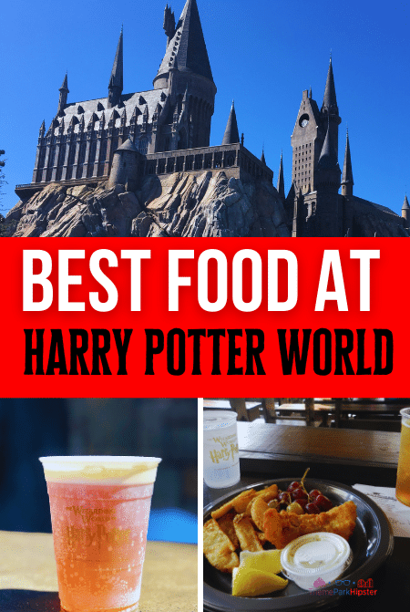 Butterbeer and fish and chips in Wizarding World of Harry Potter