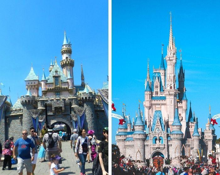 Disneyland castle vs Disney World cinderella castle