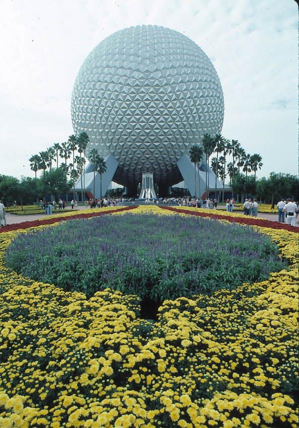 Looking towards Spaceship Earth geosphere at the Walt Disney World Resort's EPCOT Center - Orlando, Florida.