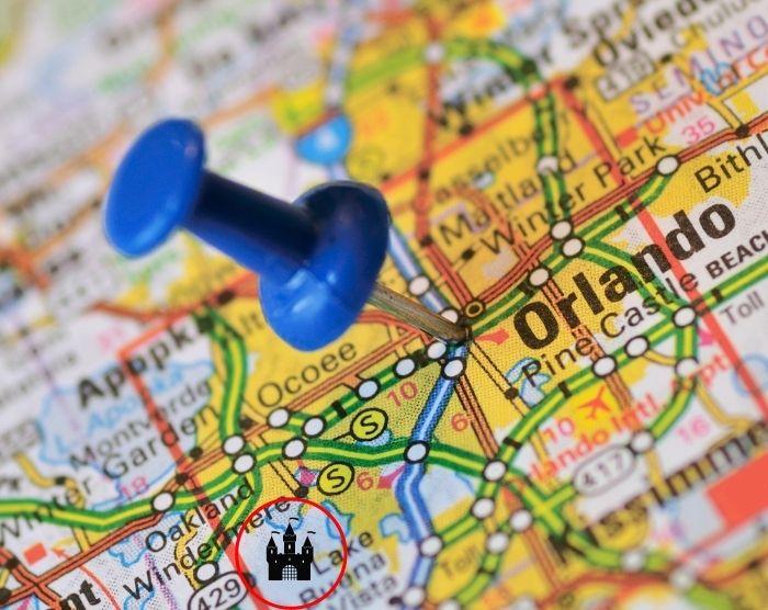 Orlando map pointing towards Disney World