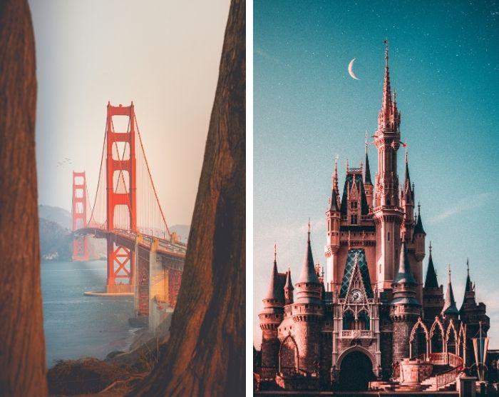 San Francisco Bridge and Cinderella Castle at Disney World