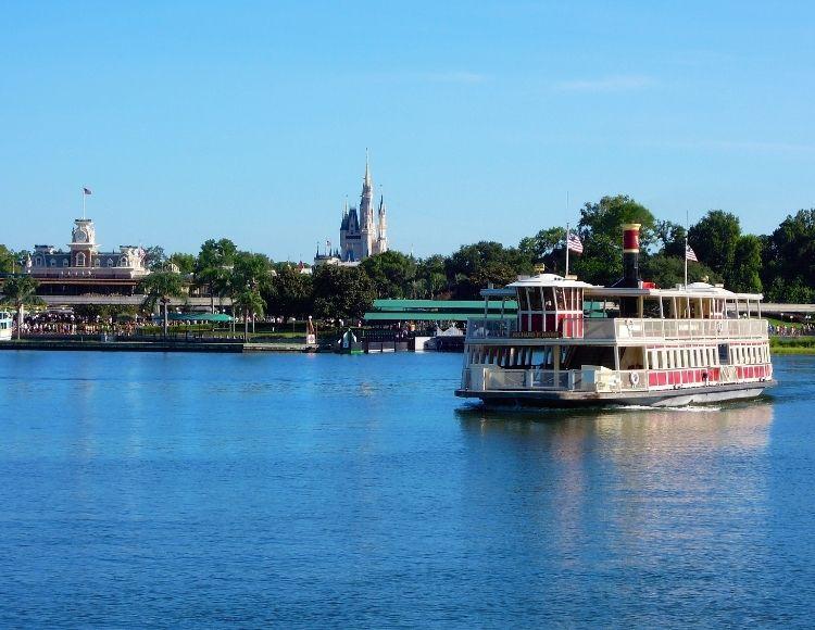 Cinderella Castle with Ferry Boat in Disney Magic Kingdom Orlando Florida