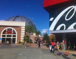 Disney Springs Entrance with Planet Hollywood and Coke Cola stores