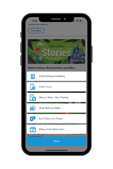 My Disney Experience App Selections