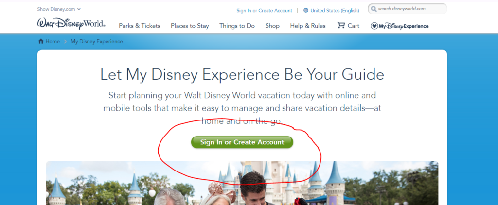 My Disney Experience Sign in and create account