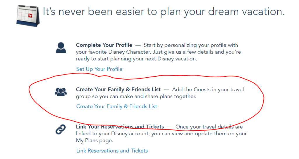 My Disney Experience add friends and family