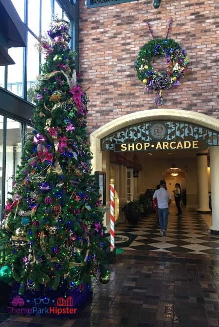 Port Orleans French Quarter Lobby with Christmas Tree