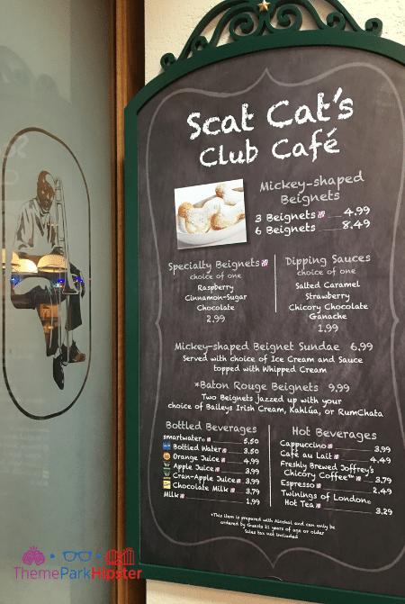 Port Orleans Scat Cat's Club Menu