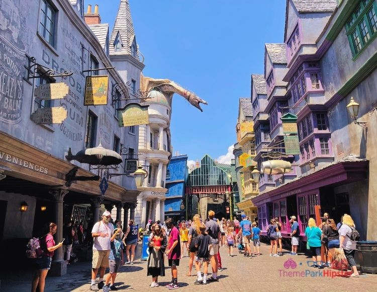 Diagon Alley with Dragon on Top of Gringotts making it one of the best rides at Universal Studios.