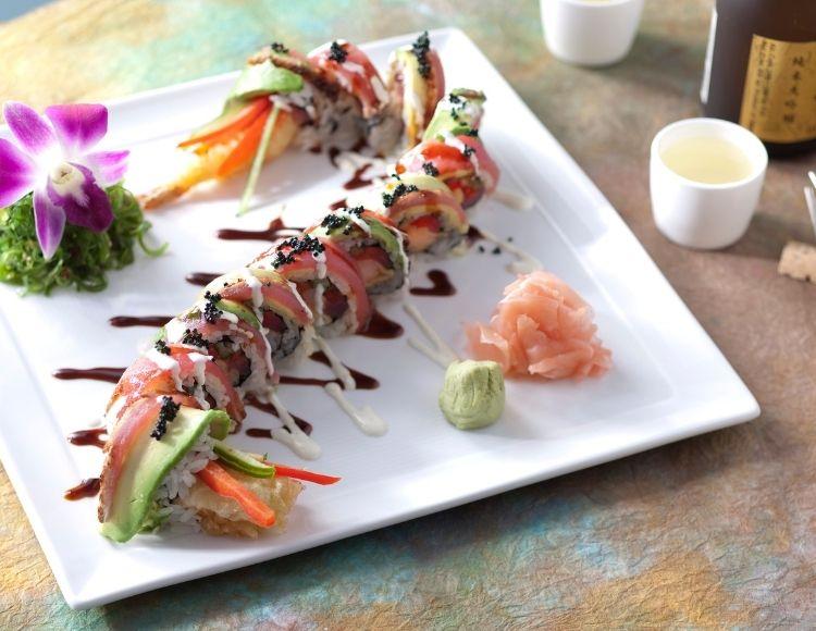 Dragon Roll Tempura Shrimp at California Grill Restaurant. Best sushi in Disney World.