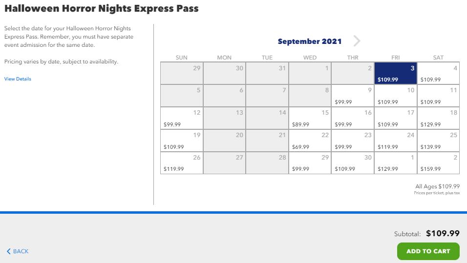 HHN Express Pass Price