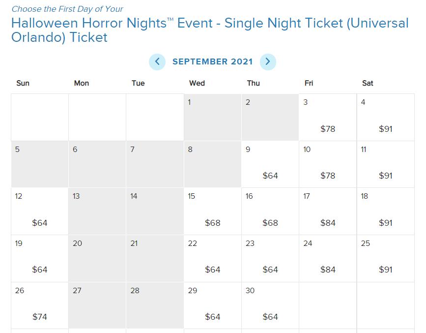 Halloween Horror Nights 2021 Ticket Prices