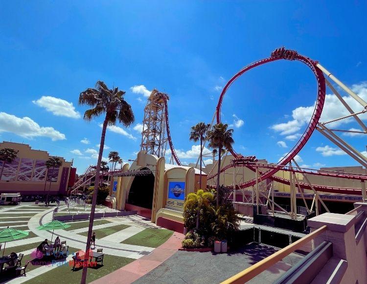 Hollywood Rip Ride Rockit Overlooking Plaza at Universal Studios