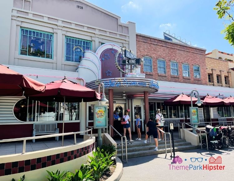 Hollywood and Vine Entrance at Hollywood Studios. One of the worst disney world restaurants.