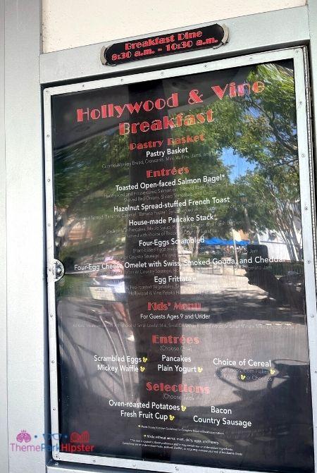 Hollywood and Vine Menu at Disney Hollywood Studios