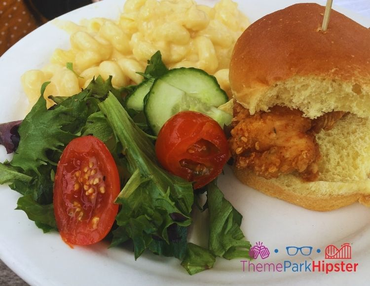 Homecomin Disney Springs Kids meal chicken sandwich with mac and cheese and salad